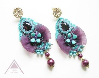 Bead embroidered earrings fashion beadwork purple blue dangle earrings long chandelier earrings shabby chic bohemian earrings renaissance