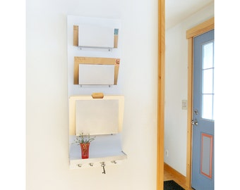 OFFICE FILE ORGANIZER: with Mail Holders Shelf Key Hooks, Wall Mount Modern Organization for Home Office or Family