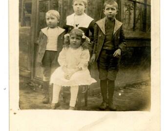 1913 Little Children Photo Postcard Antique Vintage RPPC Children Edwardian Victorian Fashion Boy Girl