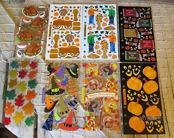 8 Sheets Fall Halloween Trick or Treat Stickopotamus Stickers- Thanksgiving Turkey Dinner Hay Ride Scarecrow Trick or Treat Fall Leaves