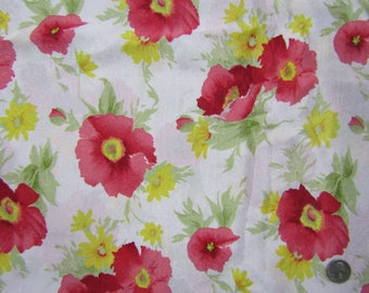 5 yards vintage polyester fabric red poppies