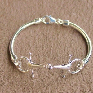 Snaffle Bit Horse Bangle Bracelets Sterling Silver,Equestrian Jewelry,Horse Jewelry,Equestrian Bangle