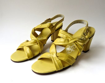 60s vintage Selby Lemon Yellow Strappy  Leather Sandals
