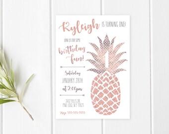 Boho Birthday Party Invitation, Vintage Birthday Party Invite, Birthday Party Invitations, Pineapple Birthday Party, Boho Birthday [564]