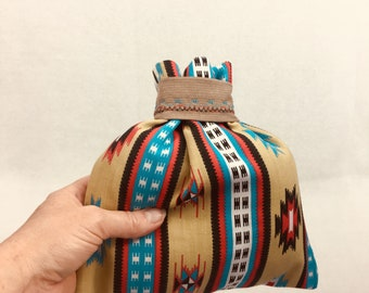 Southwestern Style Gift Bag, Father's Day Gift, Upcycled, Native American Design, Zero Waste, Fabric Gift Bag, Birthday Gift Bag, Reusable