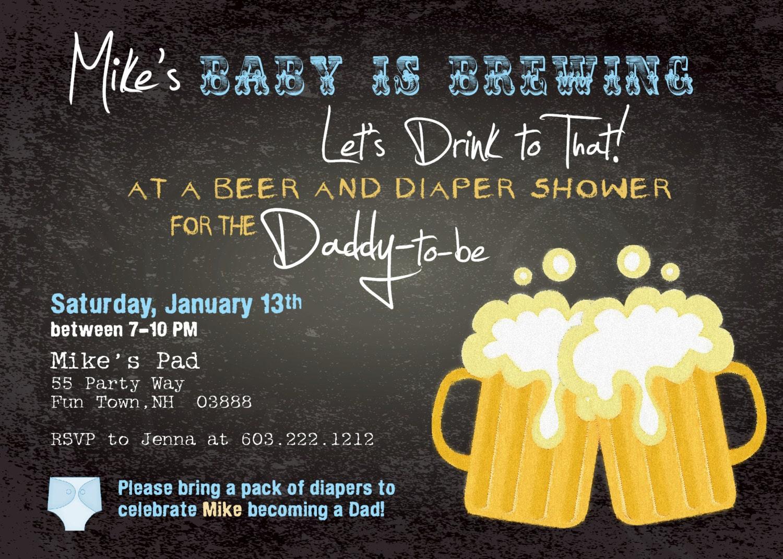 Beer and Diaper Shower Invitation Boy Man Shower Man Diaper