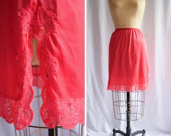 Vintage 1960s Half Slip   Kayser   Red Nylon Tricot Petticoat Lace Trim and Border Side Slit  60s Lingerie Size M/L