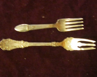 2 Antique 1847 Rogers Bros IS and AI Silver Plate Forks