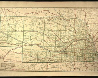 Vintage nebraska map Etsy