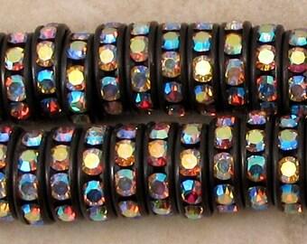 Bead, Rhinestone Rondelle, Jet Crystal AB, 10 mm, 6 Pieces, C472