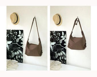 leather cotton tote bag with extensible shoulder strap, women bag, handmade tote bag, made in italy, womens gift