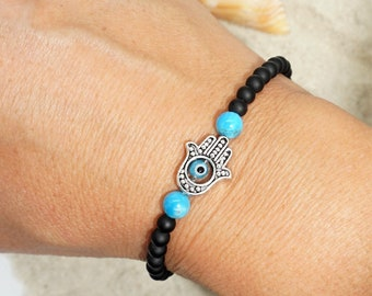 Tranquility | black onyx, apatite, hamsa, faceted glass eye