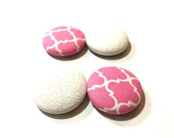 Pink and White Fabric Covered Button Magnets Bulletin Board Memo Board Magnet Board Fabric Memo Board Refrigerator Magnets Magnet Memo Board