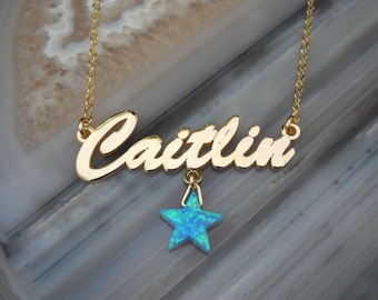 Name Necklace - Personalized Name Necklace - Custom Name Necklace - Nameplate Necklace - Personalized Name Jewelry - Opal Star