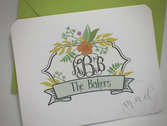 Monogram Crest Floral Personalized Note Cards - Custom Made