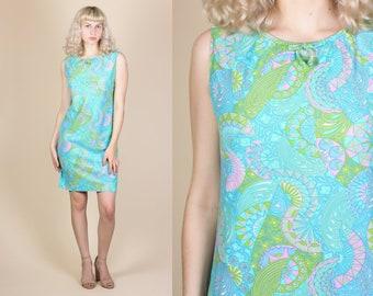 60s Psychedelic Print Mini Dress - Medium // Vintage Sleeveless Sheath Minidress