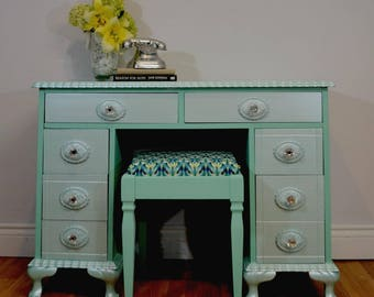 SOLD Mint Desk and Stool