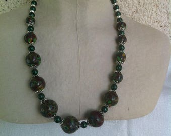 Mustard/Brown/green mosaic necklace