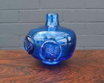 Mid Century Vintage Blue Vase