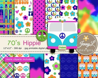 50% OFF 70's Hippie Digital Papers & clipart SET, Peace, Flower, Guitar Heart for Digital Scrapbooking, Birthday, Wedding invitations, Plann