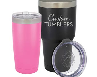 Custom Tumbler Laser Engraved Stainless Steel Cups | Black Pink Blue Purple Red  | 20 oz 30 oz | Vacuum Insulated BPA Free Cold