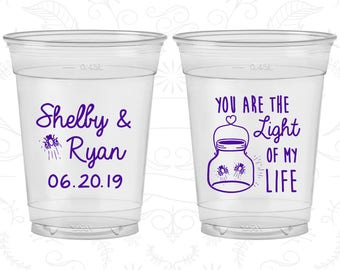 You are the Light of my Life, Custom Disposable Cups, Fire Fly, Mason Jar, Light Inspirational, Soft Sided Cups (262)