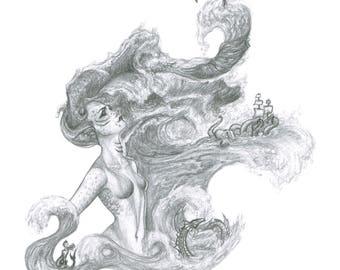 "Nautical Terror / 8.5"" by 11"" Print / Ocean Drawing / Sea Art / Girl Sketch / Great Artist Gift / Faithful Imagination Artwork"