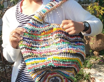Upcycled Crocheted Hobo Shopping Tote Bag