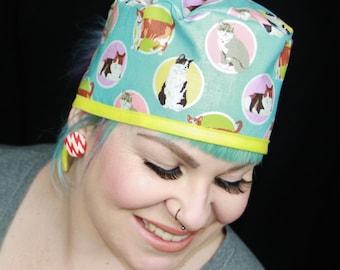 Surgical scrub cap for doctor/nurse/vet/ vet nurse - CAT KITTEN fabric, blue & yellow