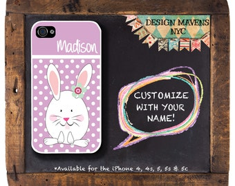 Bunny Rabbit iPhone Case, Personalized Polka Dot iPhone Case, iPhone 4, iPhone 4s, iPhone 5, iPhone 5s ,iPhone 5c, iPhone 6, Phone Cover