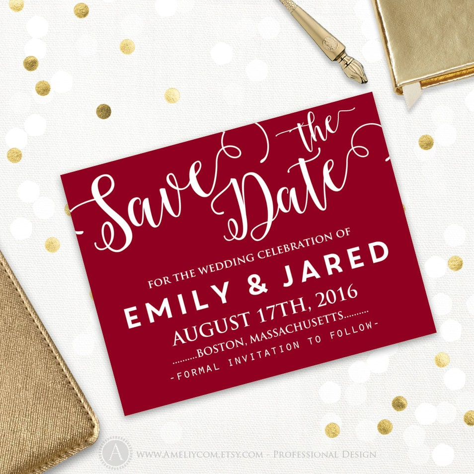 Printable Save the Date Card Wedding Save the Date Postcard