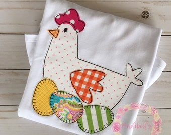 Chicken and Eggs Applique Shirt