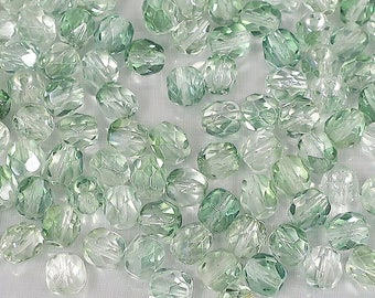 6 mm celery green and Crystal Firepolish-25 Loose Beads-Bin 10