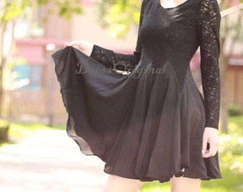 Black lace dress/Summer Lace dress / Black Lace Chiffon Dress / Little Black Dress