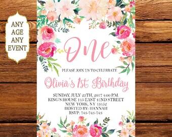 Floral First Birthday Invitation, 1st Birthday Invitation Girl Birthday, Floral Invitation, Floral Birthday Invitation, Birthday Invite 179