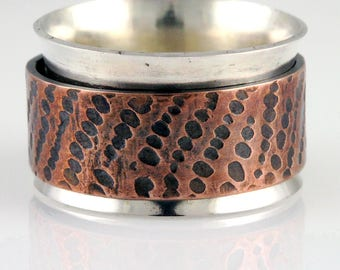 Sterling Spinner Ring with Textured Copper Spinner - Anxiety Ring, Fidget Ring, Stress Ring, Meditation Ring