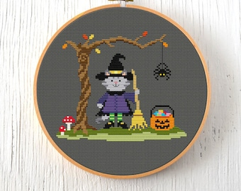 PDF Pattern - Country Critters Tricks or Treats Cross Stitch Pattern, Witch Cross Stitch Pattern, Halloween Cat Cross Stitch Pattern