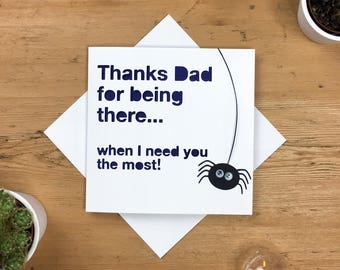 Funny Father's Day Card, Dad, card for dad, fun card, card for him, happy fathers day, birthday card dad, dad birthday, thanks dad, spider