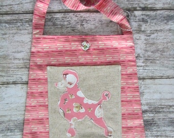 Bucket Bag/Tote - Pink Poodle with pocket