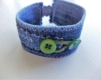 Denim Fabric Cuff Bracelet,Fabric Cuff,Fabric Bracelet, Bohemian Fabric Cuff,Bohemian Fabric Bracelet,Wrap Fabric Cuff,Fabric Jewelry
