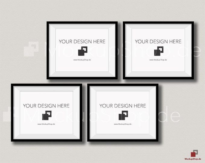 BLACK FRAME MOCKUP / 8x10 / Set of 4 horizontal Black Frame Mockup / download Frame Mockup / Empty Mockup Frame / Instand Download / Mockup