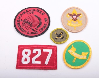 Collection, Vintage, Boy Scout, Cub Scout, Patches, Set of 5, Lot of 5 ~ Boom Thang ~ 161128