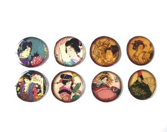 8 resin 25 mm Asian Japan theme cabochons