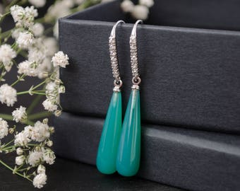 Green stone earrings with rhodium hook Chrysoprase gemstone with clear cubic zirconia Long teardrop birthstone earrings  Gift for woman