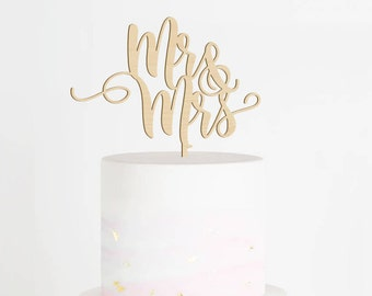 Mr & Mrs Cake Topper, Wedding Cake Topper, Mr and Mrs Wood Cake Topper, Calligraphy Cake Topper. Rustic Cake Topper