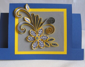 Quilled Birthday Card -  Handmade Quilling Card - Quilling Flower Design - Greeting Card for Girl / Wife / Grandma / Nanny / Sister / Mum
