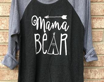Mama Bear Raglan / Mama Bear Shirt / Mama Shirts / Mom Shirts/ New Mom Shirt / Babyshower Gift / Free Shipping