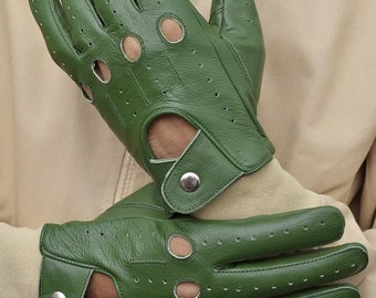 Men's Green Leather Driving Gloves