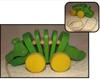 Vintage Wooden Green & Yellow Alligator Childs Pull Toy, nursery decor, display