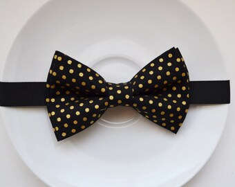 Luxurious Black bow tie with Gold Dot printed Bow Tie, boy bow tie, baby bow tie, adult bow tie, men's bow tie, black bow tie, gold bow tie